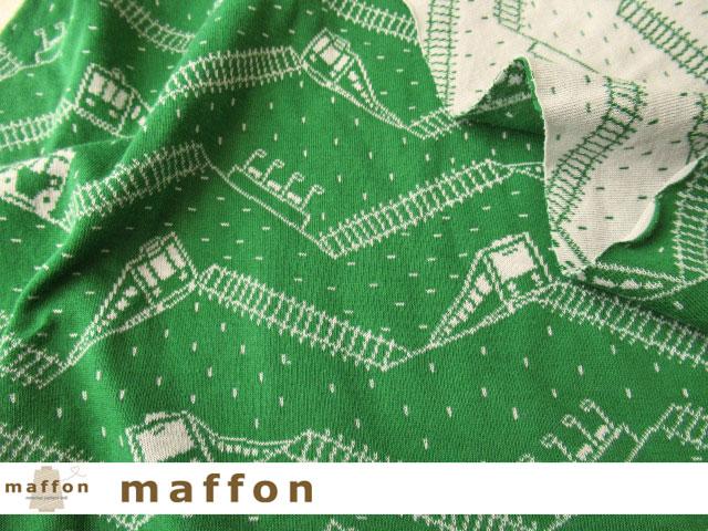 【 maffon (マフォン) 】 約75cm幅 リバーシブルジャガード接結ニット 『 トレイン柄 』 ビリジアン/シルバーグレー