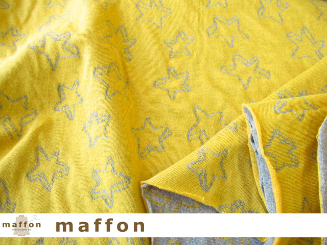 【 maffon (マフォン) 】 約75cm幅 リバーシブルジャガード接結ニット 『 クッキースター柄 』 イエロー/杢グレー