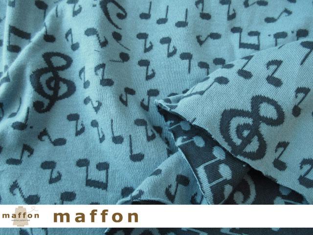 【 maffon (マフォン) 】 約75cm幅 リバーシブルジャガード接結ニット 『 音符柄 』  ライトブルー/ダルブルー