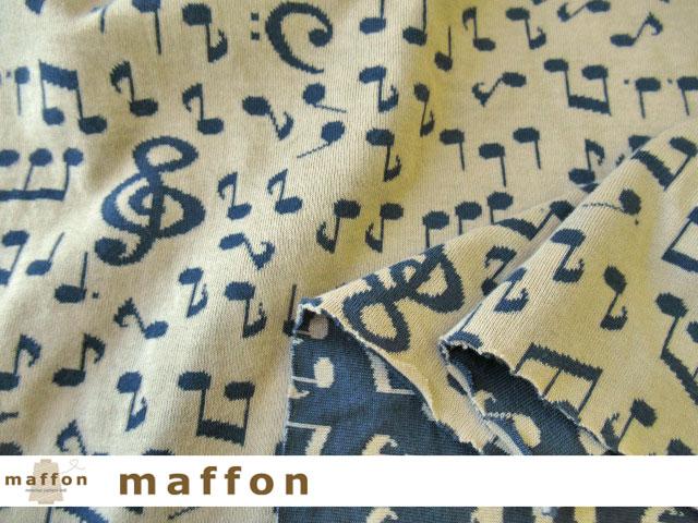 【 maffon (マフォン) 】 約75cm幅 リバーシブルジャガード接結ニット 『 音符柄 』  ベージュ/ダルブルー