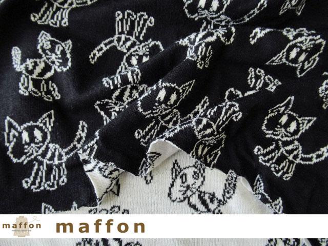 【 maffon (マフォン) 】約75cm幅 リバーシブルジャガード接結ニット 『khitōn柄 』 黒/アイボリー