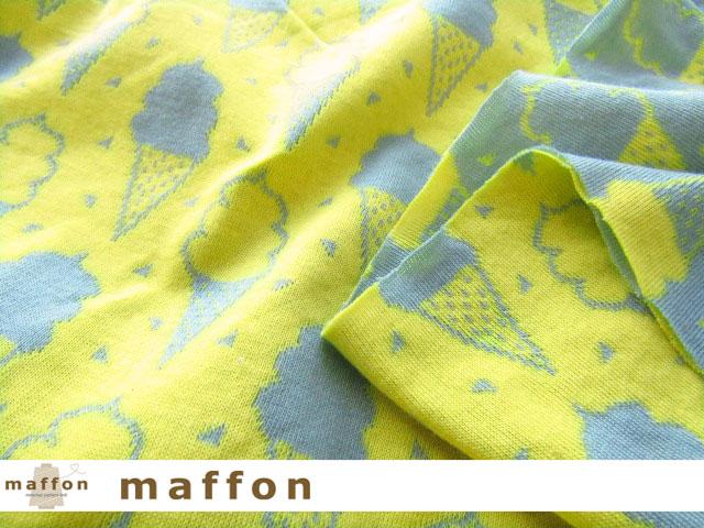 3回目の再入荷! 【 maffon (マフォン) 】 約75cm幅 リバーシブルジャガード接結ニット 『ソフトクリーム柄 』 カデットブルー/レモン