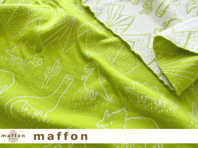 【 maffon (マフォン) 】 約75cm幅 リバーシブルジャガード接結ニット 『 ダイナソー柄 』 青りんご/アイボリー
