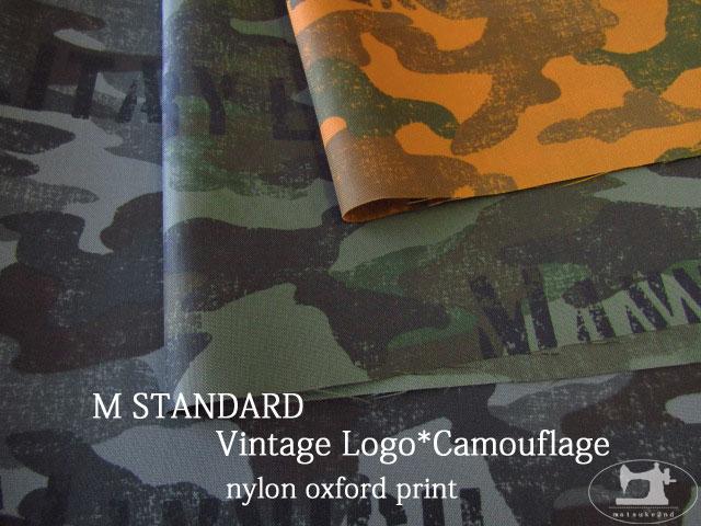 お買い得! 【撥水ナイロンオックス】 M STANDARD 『 ビンテージ ロゴ*カモフラージュ』