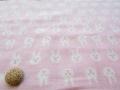 【約55cm幅×約50cmカット*ミニカットクロス】 『にこにこ☆うさぴょん♪』ピンク【ふんわりダブルガーゼ】
