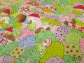 【約55cm幅×約50cmカット*ミニカットクロス】 『はりねずみの、森のおうち♪ 』 ピンク【ふんわりWガーゼ】