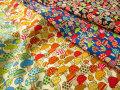 お買い得! 【コットン ツイル】 カラフルなキノコがいっぱい!『 カラフル ポップ キノコ 』