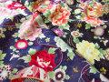 【コットン スラブドビー】 色彩模様 和調ラメプリント 『 牡丹 と 鞠 』