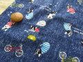 【約54cm幅×約50cmカット*ミニカットクロス】『フレブルちゃんのハッピーホリデー☆』ネイビーブルー【ふんわりWガーゼ】