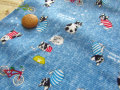 【約54cm幅×約50cmカット*ミニカットクロス】『フレブルちゃんのハッピーホリデー☆』ライトブルー【ふんわりWガーゼ】