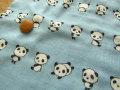 【約53cm幅×約50cmカット*ミニカットクロス】『りらっくす☆パンダちゃん♪』ミルキーブルー【ふんわりWガーゼ】