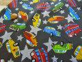 【約55cm幅×約50cmカット*ミニカットクロス☆お気に入りシリーズ2018 / Boys Collection☆ 『 コミックカー 』 』チャコール【コットン オックス】