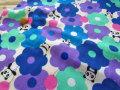【約54cm幅×約50cmカット*ミニカットクロス】『ふわふわお花とパンダちゃん♪』ブルー【ふんわりダブルガーゼ】