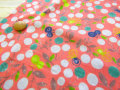 【約54cm幅×約50cmカット*ミニカットクロス】『ベリー&バタフライ』サーモンピンク【ふんわり ダブルガーゼプリント】
