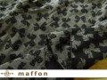 【 maffon (マフォン) 】 約75cm幅 リバーシブルジャガード接結ニット 『 ドットリボン柄 』  黒/ダーク杢グレー
