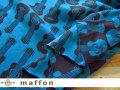 【 maffon (マフォン) 】 約75cm幅 リバーシブルジャガード接結ニット 『 ギター柄 』  ダークチャコール/ターコイズ