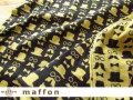 【 maffon (マフォン) 】 約75cm幅 リバーシブルジャガード接結ニット 『 アンクルズ柄 』 ダークチャコール/イチョウ