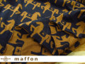 【 maffon (マフォン) 】 約75cm幅 リバーシブルジャガード接結ニット 『 馬柄 』 ネイビー/シナモン
