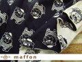 【 maffon (マフォン) 】 2回目の再入荷! 約75cm幅 リバーシブルジャガード接結ニット 『 パグ柄 』 黒/アイボリー