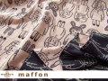 【 maffon (マフォン) 】 約75cm幅 リバーシブルジャガード接結ニット 『 アンティークドール柄 』 チャコール/フレンチピンク