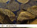 【 maffon (マフォン) 】 約75cm幅 リバーシブルジャガード接結ニット 『 ダリア柄 』 ネイビー/シナモン