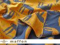 【 maffon (マフォン) 】 約75cm幅 リバーシブルジャガード接結ニット 『 なまけもの柄 』 ダルブルー/コニャック