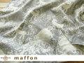 【 maffon (マフォン) 】 約75cm幅 リバーシブルジャガード接結ニット 『 ウィンターホース柄 』 杢グレー/アイボリー