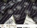 【 maffon (マフォン) 】 約75cm幅 リバーシブルジャガード接結ニット 『 リボンローズ柄 』  黒/アイボリー