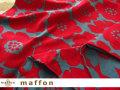 【 maffon (マフォン) 】 約75cm幅 リバーシブルジャガード接結ニット 『 アネモネ柄 』  アイアングリーン/レッド