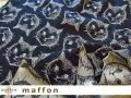 【 maffon (マフォン) 】 約75cm幅 リバーシブルジャガード接結ニット 『シャトン柄 』  ネイビー/ベージュ