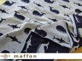 【 maffon (マフォン) 】 約75cm幅 リバーシブルジャガード接結ニット 『 くじら柄 』  ネイビー/杢グレー