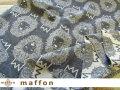 【 maffon (マフォン) 】 約75cm幅 リバーシブルジャガード接結ニット 『 ライオン柄 』  ダーク杢グレー/バニラ