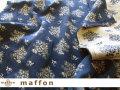 【 maffon (マフォン) 】 約75cm幅 リバーシブルジャガード接結ニット 『フレンチローズ柄 』  ダルブルー/ベージュ