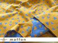 【 maffon (マフォン) 】 約75cm幅 リバーシブルジャガード接結ニット 『 パーティークラッカー柄 』 コルク/オリエンタルブルー
