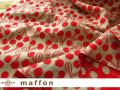 【 maffon (マフォン) 】 約75cm幅 リバーシブルジャガード接結ニット 『 チェリーズ柄 』  レッド/ベージュ