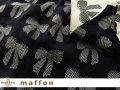 【 maffon (マフォン) 】 約75cm幅 リバーシブルジャガード接結ニット 『リボンイベール柄 』 黒/アイボリー