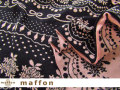 【 maffon (マフォン) 】 約75cm幅 リバーシブルジャガード接結ニット 『レース&ビジュー柄 』 黒/フレッシュピンク