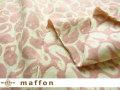 【 maffon (マフォン) 】 約75cm幅 リバーシブルジャガード接結ニット 『 スワン柄 』 フレンチローズ/アイボリー
