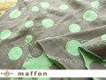 【 maffon (マフォン) 】 約75cm幅 リバーシブルジャガード接結ニット 『 ドット&フリル柄 』 ムーングレー/ミント