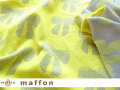 【 maffon (マフォン) 】 約75cm幅 リバーシブルジャガード接結ニット 『リボンイベール柄 』 アッシュ/レモン