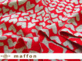 【 maffon (マフォン) 】 約75cm幅 リバーシブルジャガード接結ニット 『ハートニット柄 』 杢グレー/レッド