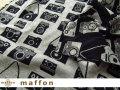 【 maffon (マフォン) 】 約75cm幅 リバーシブルジャガード接結ニット 『 カメラ柄 』  黒/杢グレー