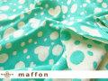 【 maffon (マフォン) 】 約75cm幅 リバーシブルジャガード接結ニット 『マシュマロハート柄 』 エメラルド/アイボリー