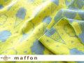 【 maffon (マフォン) 】 約75cm幅 リバーシブルジャガード接結ニット 『ソフトクリーム柄 』 カデットブルー/レモン