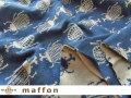 【 maffon (マフォン) 】 約75cm幅 リバーシブルジャガード接結ニット 『 カブトムシ柄 』  ベージュ/ダルブルー