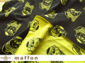 【 maffon (マフォン) 】 約75cm幅 リバーシブルジャガード接結ニット 『 パグ柄 』 チャコール/レモン