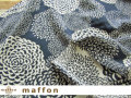 【 maffon (マフォン) 】 約75cm幅 リバーシブルジャガード接結ニット 『 ダリア柄 』 ダルブルー/アイボリー