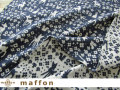 【 maffon (マフォン) 】 約75cm幅 リバーシブルジャガード接結ニット 『 フェアリーテール柄 』 ダルブルー/アイボリー