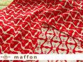 【 maffon (マフォン) 】 約75cm幅 リバーシブルジャガード接結ニット 『 りぼん柄 』 レッド/オフ