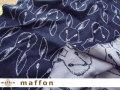 【 maffon (マフォン) 】 約75cm幅 リバーシブルジャガード接結ニット 『 おすましうさぎ柄』 ネイビー/ブルーグレー